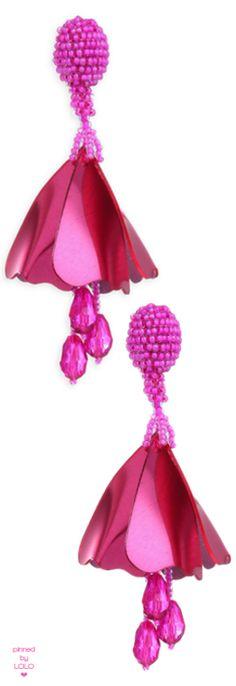 Oscar de la Renta Small Impatiens Clip-On Drop Earrings