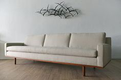 Walnut Base Sofa by Harvey Probber by TheModernVault on Etsy... and then do an Ikea hack