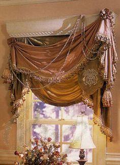 Tuscan style – Mediterranean Home Decor Velvet Curtains, Curtains With Blinds, Valances, Victorian Windows, Rideaux Design, Drapery Designs, Custom Window Treatments, Victorian Window Treatments, Mediterranean Home Decor