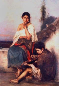 Paintings with Roma. Janos Valentiny Hungarian artist (1842—1902) Oil, canvas; 1896 year