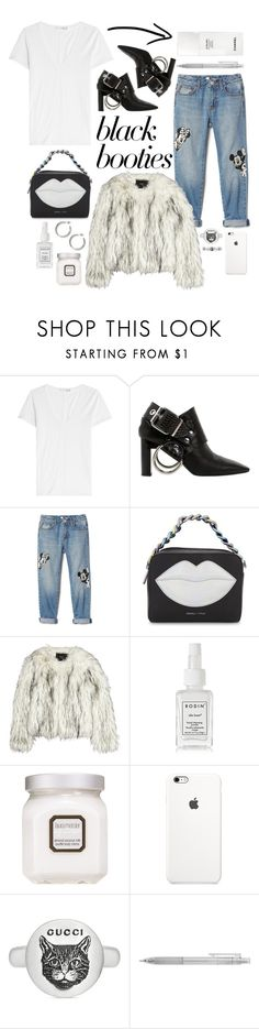 """Black Booties"" by cherieaustin ❤ liked on Polyvore featuring rag & bone, Alyx, Disney, Kendall + Kylie, Unreal Fur, Rodin, Laura Mercier, Gucci, Muji and Chanel"