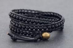 Black On Black Onyx Wrap Bracelet Anklet by XtraVirgin on Etsy, $19.00