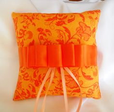 Orange Wedding Ring Bearer Pillow by Alliums123 on Etsy