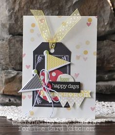 Happy Happy days card by Amy Sheffer for the Card Kitchen Kit Club using the July 2014 kit