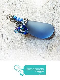 Cultured Sea Glass Blue Shard Drop Pendant - Translucent Blue, Cobalt & Silver, Stainless Steel Handmade Wire Wrapped Sea Glass Pendant Necklace with Beads and Braided Bail - OOAK Gift for Women from Rhonda Chase Design https://www.amazon.com/dp/B01MA65FSI/ref=hnd_sw_r_pi_dp_Q-3Jyb9JNB2B0 #handmadeatamazon