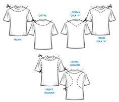 13 customizações de camisetas ~ Arte De Fazer | Decoração e Artesanato Zerschnittene Shirts, Zumba Shirts, Casual Chic Outfits, Shirt Makeover, Shirt Refashion, T Shirt Diy, Shirt Transformation, Recycled T Shirts, Diy Dress