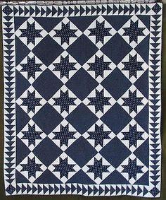 Fabulous-ANTIQUE-c1880-Indigo-Blue-White-Stars-QUILT-Flying-Geese-Border Vintageblessings