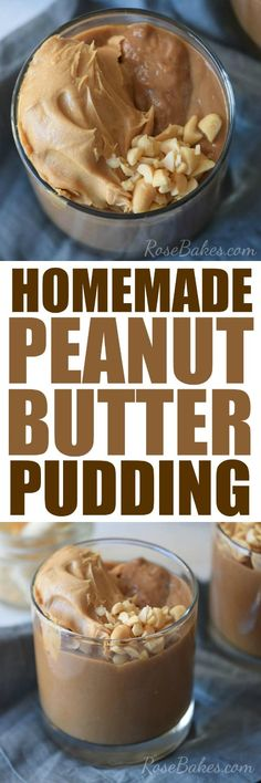 Homemade Peanut Butter Pudding | Rose Bakes Peanut Butter Pudding Recipe, Peanut Butter Sandwich, Best Peanut Butter, Homemade Peanut Butter, Peanut Butter Recipes, Quick Easy Desserts, Delicious Desserts, Delicious Dishes, Dessert Salads