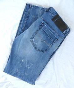 Diesel Jeans 34x32 Safado Regular Slim Straight Frayed Distressed Button Fly #DIESEL #ClassicStraightLeg