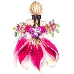 Discovered by Manuela Micu. Find images and videos about art, dress and flowers on We Heart It - the app to get lost in what you love. Art Floral, Flower Fashion, Fashion Art, 90s Fashion, Girly Drawings, Illustration Art, Illustrations, Landscape Illustration, Fashion Design Sketches