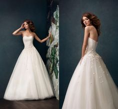 Classical Elegant Bodice A Line Wedding Dressses Touching Low Back Sweetheart Neck Full Length Bridal Gowns Small Flowers As Snowy ZC from Engerlaa,$134.43 | DHgate.com