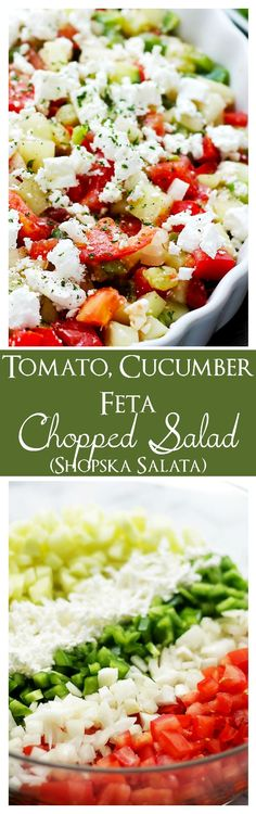 Tomato, Cucumber, Feta Chopped Salad (Shopska Salata) | www.diethood.com | The Macedonian version of a chopped salad with cucumbers, tomatoes, onions, peppers and white [feta] cheese.