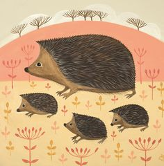'Hooray For Hedgehogs' By Painter Catriona Hall. Blank Art Cards By Green Pebble. www.greenpebble.co.uk
