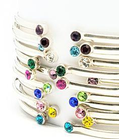 Birthstone Bangles by David J. David J, Birthstones, Birthday Gifts, Jewelry Design, Fashion Jewelry, Bangles, Concept, Jewellery, Sterling Silver