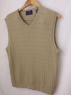 Men's Vest Medium Pima Cotton Beige V-Neck Cable Knit J. Ashford #JAshford #Vest