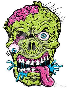 Vector of a detailed zombie head