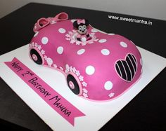 Disney Minnie Mouse Car shaped themed 3D designer fondant cake by Sweet Mantra - Customized 3D cakes Designer Wedding/Engagement cakes in Pune - http://cakesdecor.com/cakes/273615-disney-minnie-mouse-car-shaped-themed-3d-designer-fondant-cake