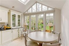 Breakfast kitchen extension, with orangery gable end and skylights. Cottage House Plans, Cottage Homes, Style At Home, New Kitchen, Kitchen Dining, Kitchen Layout, Kitchen Ideas, Cottage Renovation, House Extensions