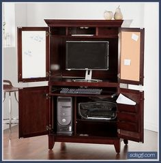 modern computer armoire desk furniture with storage