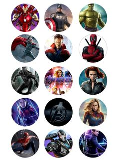 Avengers Cupcake Toppers Icing Sheet / Wafer Paper | Etsy Avenger Cupcakes, Superhero Cupcake Toppers, Avengers Drawings, Predator Art, Watercolor Bookmarks, Avengers Birthday, Trunk Or Treat, Bottle Cap Images, Wafer Paper