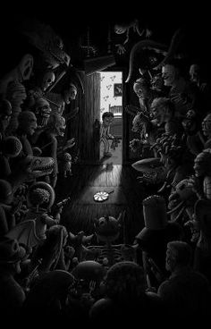 Horror on - No sleep, Nightmare fuel, Horror movies Dark Fantasy Art, Fantasy Kunst, Dark Art, Scary Wallpaper, Scared Of The Dark, Arte Horror, Creepy Art, Illustration, Monster Art