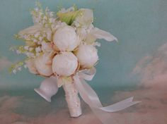 Peony and Calla Lily Wedding Bouquet Ivory, Green @ www.etsy.com/shop/3Mimis