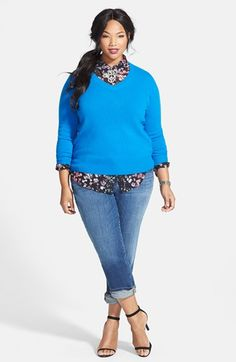 Halogen® Cashmere Sweater, Two by Vince Camuto Print Shirt & Eileen Fisher Boyfriend Jeans (Plus Size) Look Plus Size, Plus Size Casual, Plus Size Jeans, Plus Size Outfits, Curvy Girl Fashion, Love Fashion, Fashion Outfits, Plus Fashion, Ladies Fashion