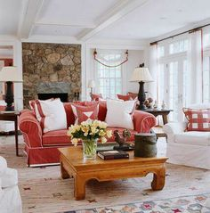 Red and white family room