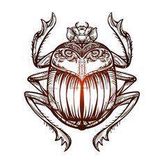 コガネムシ: 分離ベクトル タトゥー画像の黒スカラベ beetleon 白い背景。Carabaeus サケルと主権者。神ケプリ、エジプトの古代の精神的なシンボル