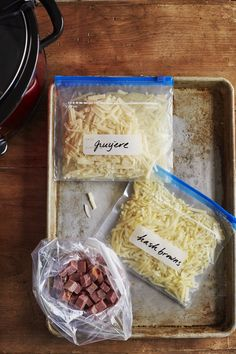How To Make Slow-Cooker Breakfast Casserole Kits. Slow cooker and crockpot breakfast casserole recipes make quick, simple, easy, make ahead weekday breakfasts. They're comforting and cozy for weekends too, and are excellent for a crowd when you're entertaining guests. For this freezer friendly crockpot quiche recipe, you'll need diced hash brown potatoes, diced ham, Gruyère, parmesan, eggs, milk, ground mustard, and spinach.