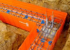 Approved stockists of Novoform Permanent Formwork, orange laminated mesh formwork for ground beams, pile cape and construction projects in the UK Beams, Exterior, Steel, Core, Construction, Building, Outdoor Rooms, Steel Grades, Exposed Beams