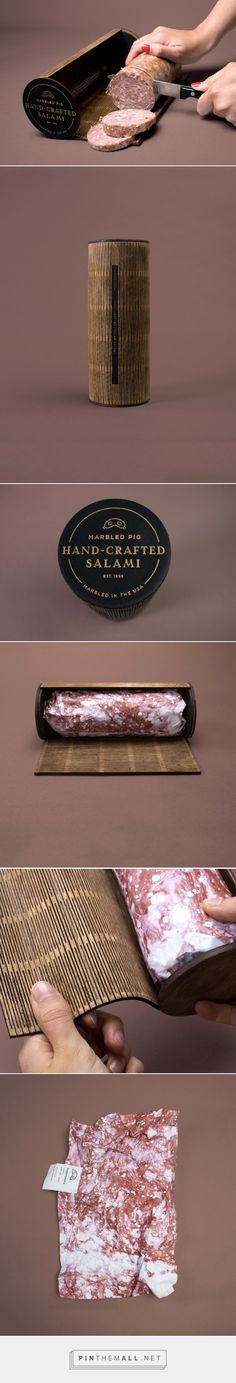 Marbled Pig salami packaging design concept by Mary Sniezek - http://www.packagingoftheworld.com/2017/09/marbled-pig.html