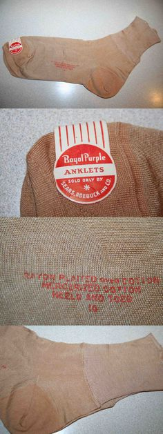 Pantyhose and Stockings 182053: Tan Vintage 40S 50S Nos Sears Mercerized Cotton Rayon Rockabilly Socks Anklets -> BUY IT NOW ONLY: $48 on eBay!