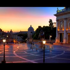 Piazza del Campidoglio at night-long trek of stairs up worth it for the great city views ***must do***