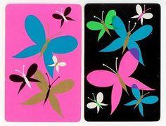 Retro Style Butterflies PR Genuine Vintage Single Swap Playing Cards | eBay