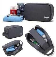 Mens Dark Grey Waterproof Toiletry Bag Shower Organizer Kit Case Double  Zippers bccb0c3521