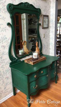 Serpentine Dresser painted in Annie Sloan Amsterdam Chalk Paint
