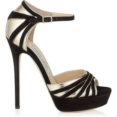 Jimmy Choo DAMSEL Black Suede and Gold Mirror Leather Platform Sandals ($548) ❤ liked on Polyvore featuring shoes, sandals, heels, gold leather sandals, black leather sandals, gold heeled sandals, platform sandals and black suede sandals