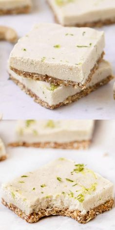 These No-Bake Key Lime Pie Bars are the BEST healthy homemade dessert recipe! Easy to make and loaded with a delicious creamy filling bursting with lime flavor. Ultimate clean dessert that is perfect for summer! Peanut Butter Dessert Recipes, Dessert Recipes For Kids, Dessert Cake Recipes, Chocolate Chip Recipes, Healthy Dessert Recipes, Lime Recipes Healthy, No Bake Recipes, Vegan Cheese Recipes, Raw Vegan Desserts
