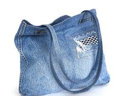 Crossbody purse recycled denim bag upcycled jean cross