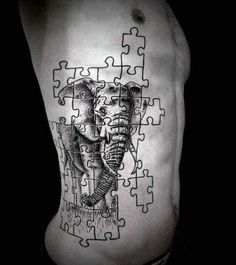 Elephant Puzzle Man Tattoo On Ribs