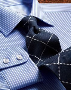 Slim fit Egyptian cotton striped blue shirt