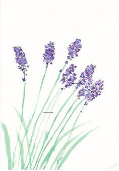 Lovely Lavender Art Print Watercolor by littlecatdraw on Etsy, $8.00