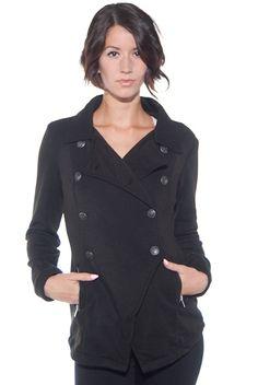 Asymmetrical Double Breasted Fleece Jacket - Black