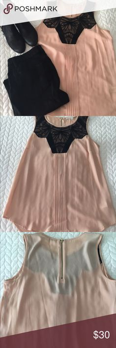 Daniel Rainn Peach and black lace top Flowy Peach chiffon sleeveless top with black lace/embroidered detailing on the top. Zipper at back neck. NWOT, never worn. Size small. Daniel Rainn Tops Blouses