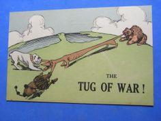 WW1 Postcard 1914 1918 BRITISH BULLDOG French Poodle Russian Bear - TUG OF WAR