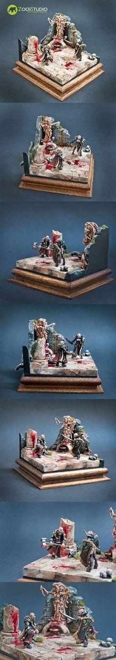 """For the Sigmar!"" Diorama Build by Bear, painted by Doe from Zoo Art Studio Zoo Art, Fantasy Battle, Warhammer Fantasy, Warhammer 40000, Plastic Models, Minis, Wordpress, Sci Fi, Diorama Ideas"
