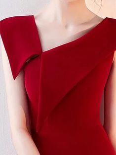 One Shoulder Red Midi Dress Sheath Cotton Slit Dress Red Midi Dress, New Dress, Slit Dress, Sheath Dress, Prom Dress, Elegant Midi Dresses, Fashion Details, Fashion Design, Fashion Ideas