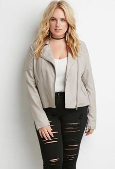 Quilted Faux Leather Moto Jacket | Forever 21 PLUS - 2000158304