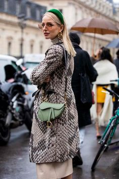 Leonie Hanne, wearing a snake print coat, green Dior bag and green hairband, is seen outside Jean Paul Gaultier show during Paris Fashion Week - Haute Couture Spring Summer 2019 on January Get premium, high resolution news photos at Getty Images Fashion Week, Paris Fashion, Winter Fashion, Fashion Outfits, Womens Fashion, Fashion Trends, Fashion Ideas, Fashion Tips, Street Style Inspiration